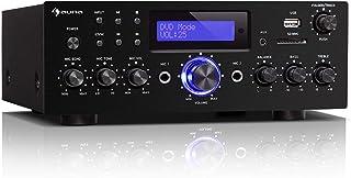 auna AMP-5 BT – Amplificador HiFi, Bluetooth, Potencia de Salida: 2 x 50 W RMS, USB / SD, Entrada AUX, DVD y CD, 2 Conecto...