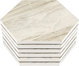 Hexagon Coasters for Drinks Absorbent, Set of 6 Marble Pattern Ceramic Stone Drink Coaster with Cork Back - Hulaso Housewarming Gifts for New Home, Tabletop Protection Prevents Furniture Damage