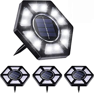 AUSHEN 4 Pack Solar Ground Lights, 12 LED Bulbs Solar Powered Disk Lights Solar Garden Lights Outdoor Waterproof Bright in-Ground Lights for Patio Lawn Pathway Yard Walkway Driveway Deck Pool (White)
