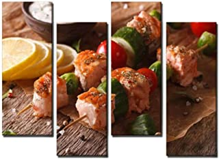 4 Panel Kebab salmon vegetables and tartar sauce close up horizontal Canvas Print Pictures Modern Home Decor Posters Gifts...