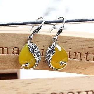 MIIAOPAI Yellow Green Chalcedony Agate Earrings 925 Silver Peacock Gemstone Earrings Earrings Retro Female Models Silver Jewelry