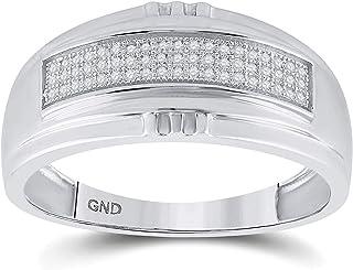 FB Jewels 925 خاتم خاتم خاتم زواج من الفضة الاسترليني للرجال جولة الماس 1/6 Cttw حجم 10 (الحجر الأولي: I3 وضوح؛ G-H)