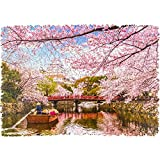 Unidragon Wooden Puzzle Jigsaw, Best Gift for Adults and Kids, Unique Shape Jigsaw Pieces Nature Sakura, 9 x 6.2 inches, 125 pieces, Small