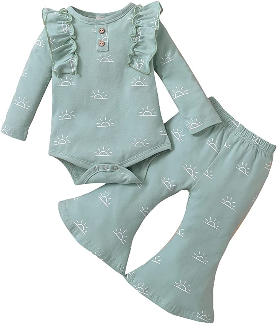 Newborn Infant Baby Girl Ruffle Shoulder Long Sleeve Bodysuit Romper Bell Bottom Pant 2Pcs Outfit Set Clothes