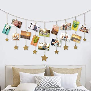 Retr Hanging Photo Display Wood Stars Garland Chains with DIY Picture Frame Collage with 30 Wood Clips Wall Art Decoration for Home Office Nursery Room Dorm Living Room Bedroom (Gold)