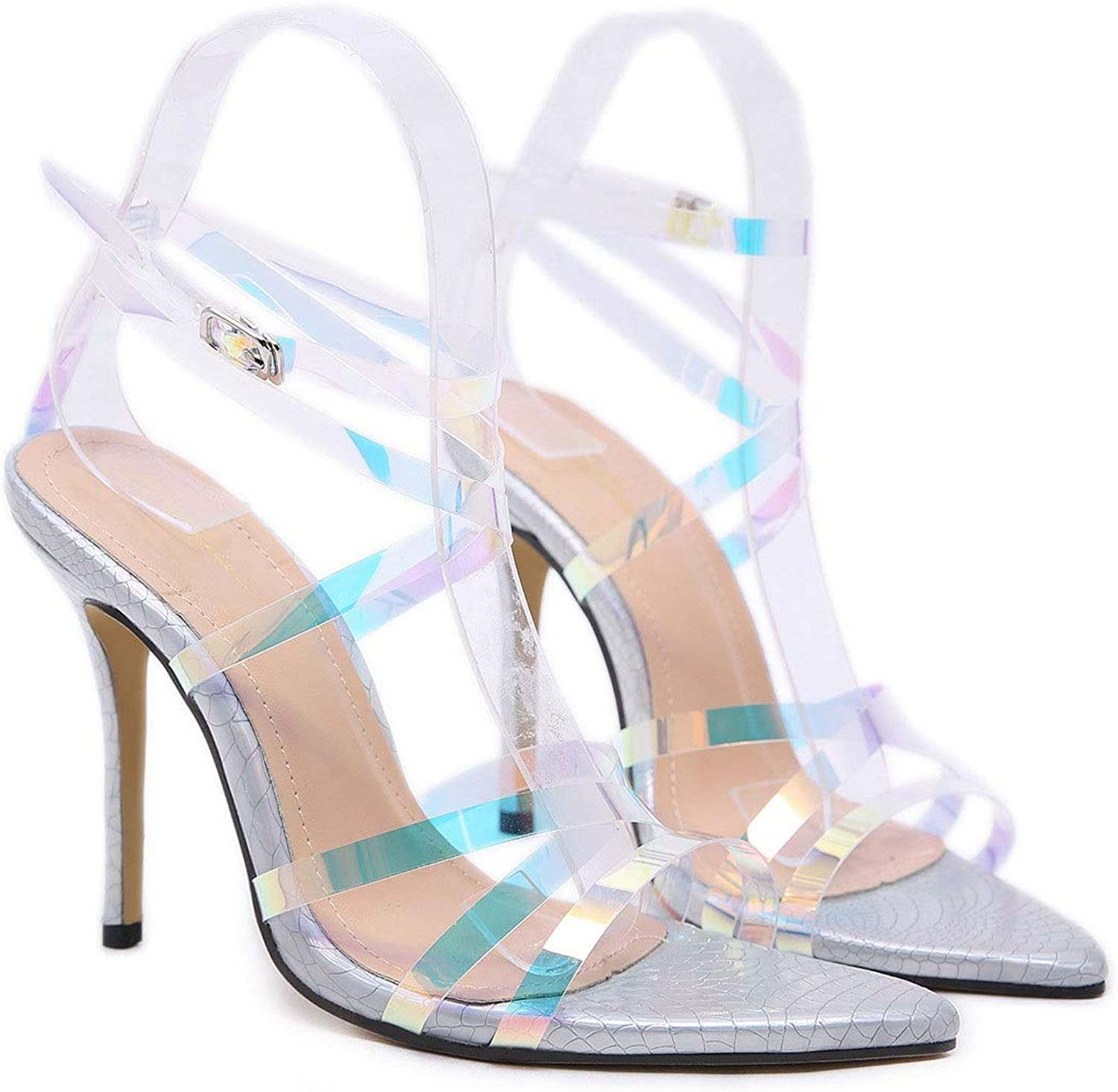 Women's High Heel Sandals with Transparent Stiletto Pointed Sandals (color   Silver, Size   6 US)
