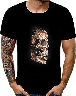 Aster JaKi メンズ 綿 Tシャツ ドクロ 創意 プリント カジュアル 半袖 トップス 派手 かっこいい 個性 カットソー 夏 吸汗通気 スウェット