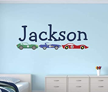 Custom Name Blue Race Car Wall Sticker Personalised Kids Room Decal WS-50954