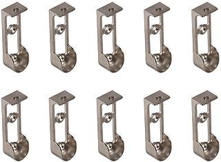 Emuca 7062607 Support latéral pour barre de penderie ovale, Zamack, Nickelé, Lot de 10