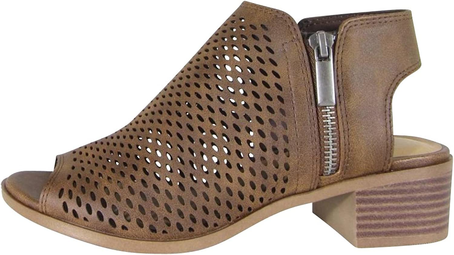 Cambridge Select Women's Open Toe Perforated Cutout Side Zip Chunky Stacked Heel Ankle Bootie