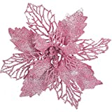 """12 pcs 6""""Christmas Poinsettia Flower, Glitter Poinsettia Tree Ornaments, Pink Artificial Flower Decorating Wreath Garland, Great for Wedding Holiday and Home Decor, with Stems"""