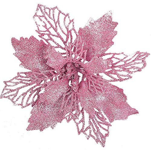 "12 pcs 6"" Christmas Poinsettia Flower, Glitter Poinsettia Tree Ornaments, Pink Artificial Flower Decorating Wreath Garland, Great for Wedding Holiday and Home Decor, with Stems"