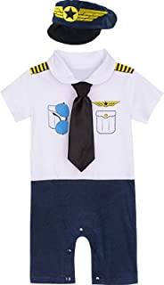 MOMBEBE COSLAND Baby Jungen Pilot Kostüm Strampler mit Hut