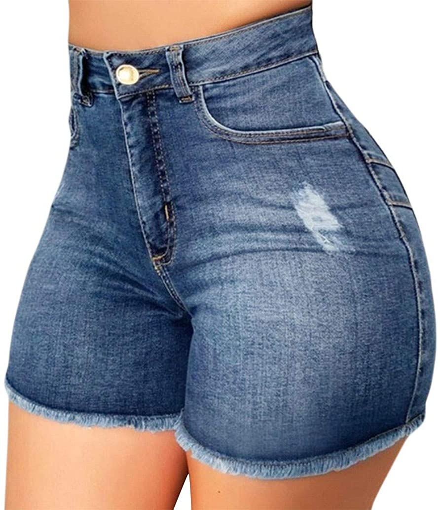 Broken Jeans Shorts for Women Elastic Destroyed Hole Hot Pants Ripped Denim Leggings Comfy Plus Size Jeans Slim Fit