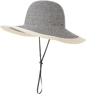 SiggiHat Comhats Packable UPF Straw Sunhat Women Summer Beach Wide Brim Fedora Travel Hat 54-59CM - Blue - Medium