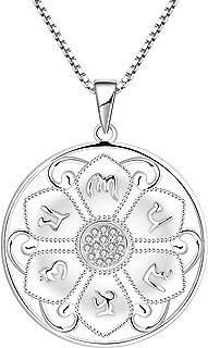 Collar de plata 925 para mujeres hombres flor collar de loto redondo protector religioso talismán collar colgante