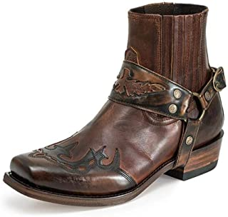 Men's Casual Low Boots Western Leather Cowboy Shoes Size UK 6-12 Square Heel Comfortable, Beautiful, Trendy Suitable for M...
