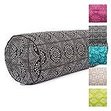 Yoga-Bolster'Bandhani', schwarz-weiß, Maharaja Collection, Dinkel-Füllung, Bezug aus 100% Baumwolle (Köper), abnehmbar, 65 cm, 23 cm Durchmesser