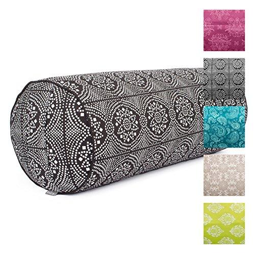 Yoga-Bolster'Madurai', ecru, Maharaja Collection, Dinkel-Füllung, Bezug aus 100% Baumwolle (Köper), abnehmbar, 65 cm, 23 cm Durchmesser