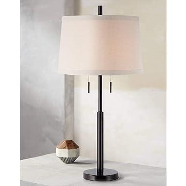 Modern Table Lamp Dark Bronze Metal Column Off White Burlap Shade for Living Room Family Bedroom Bedside - Possini Euro Design