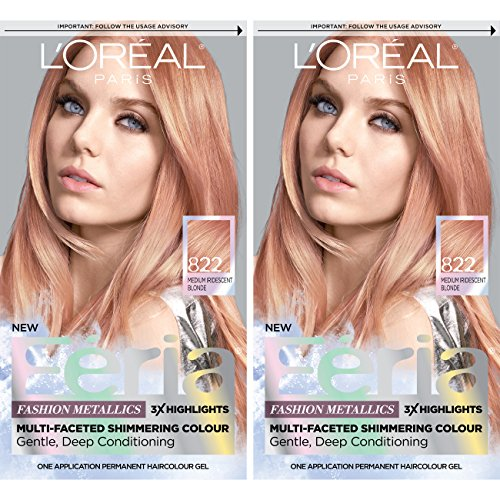 L'Oreal Paris Feria Multi-Faceted Shimmering Permanent Hair Color, Rose Gold, Pack of 2, Hair Dye