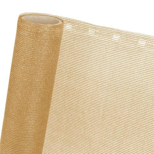 HaGa® Zaunblende 1m x 1m (Meterware) - 85% Schattierwirkung in beige - effektiver Sichtschutz für Zaun und Terrasse - Sonnenschutzgewebe Tennisblende Windschutz - Sonnenschutz
