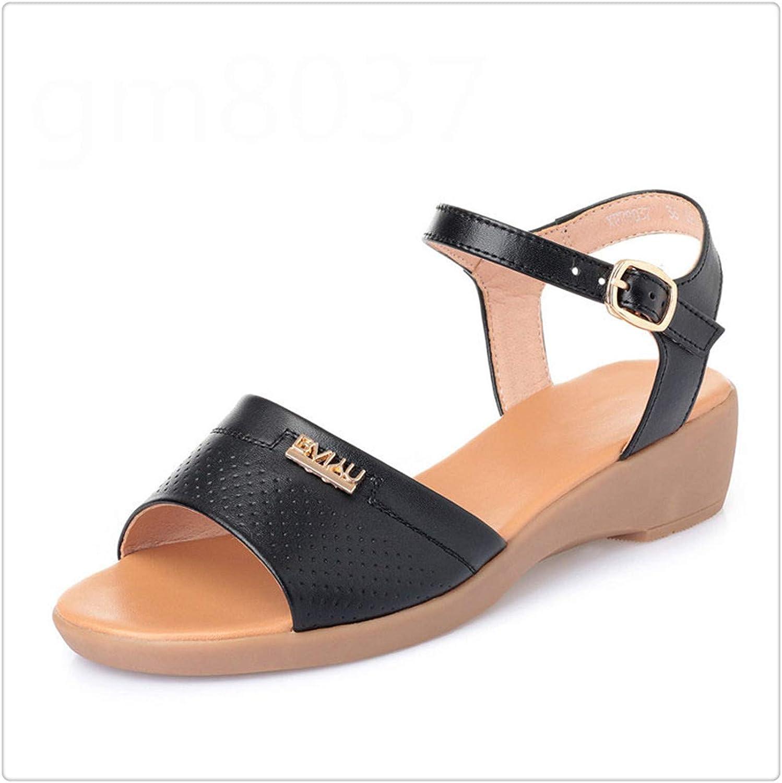 HROST& 2019 New Soft Comfortable Summer Leather Sandals Women Casual Sandals Plus Size Cowhide Flat Wedges Non-Slip Women Sandal shoes Black 9