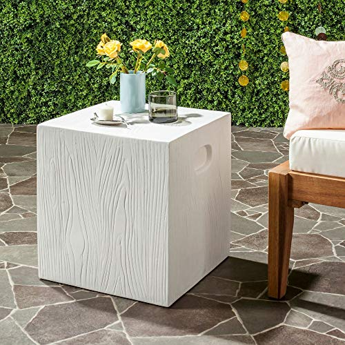 Safavieh VNN1003B Outdoor Collection Cube Modern Concrete High Accent Table, 16.5', Ivory