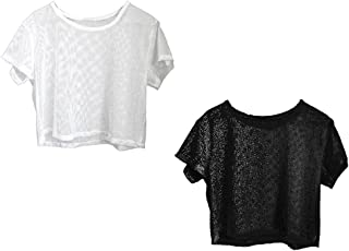 Baosity 2x Short Sleeve Lady Yoga Sports Fitness Mesh Sheer Tee Crop Tops Cover Up L