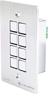 J-Tech Digital 8-Button Control Panel Wall Plate with Programmable LED Buttons, RS-232, RS-458, Relay and IR Control (JTD-P8)