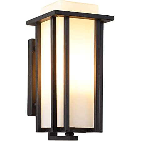 Amazon Com Eeru Outdoor Exterior Wall Lantern Outdoor Wall Sconce As Porch Lighting Fixtures Wall Mount Weather Rust Resistant Black Finish With Frosted Glass For Exterior House Front Porch Garage Driveway Home
