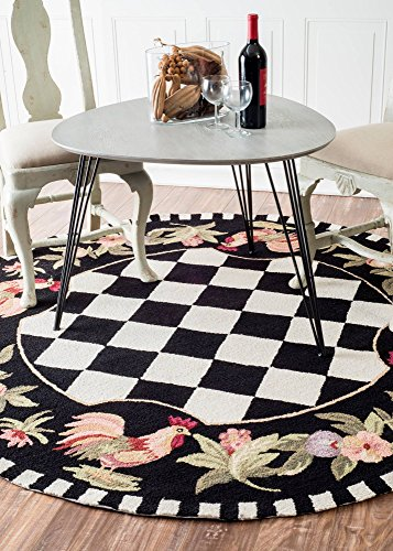Rooster Round Rug Black and White Checkered For Farmhouse Style Kitchen Decor, 6 ft x 6 ft