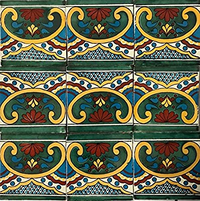 2x2 Clay Hand Painted Mexican Talavera Tile Glossy Multi Colored Beautiful Home Restoration Authentic Small Size