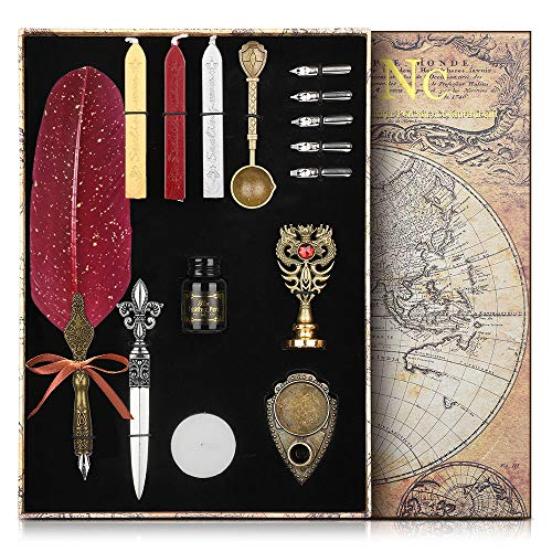 NC Feather Calligraphy Pen Ink Set,Quill Pen Set Includes Feather Dip Pen,Ink,5 Replacement Nibs,3 Wax Seal Sticks,Pen Holder,Seal Stamp, White Wax,Spoon,Envelope Letter Paper, Envelope Tool (Red)