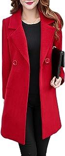 Jenkoon Women's Winter Outdoor Double Breasted Cotton Blend Pea Coat Jacket