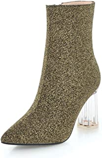 d49b55ab5fa2 Vimisaoi Women Sequins Ankle Booties Block Crystal Transparent High Heel  Boots