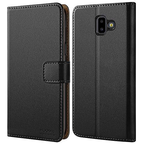 HOOMIL Handyhülle für Samsung Galaxy J6 Plus 2018 Hülle, Premium Leder Flip Schutzhülle für Samsung Galaxy J6 Plus (2018) Tasche, Schwarz