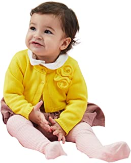 Petit Clan Baby Girl Cardigan with Flower Decorative at Chest Infant Toddle Autumn Winter Sweater