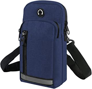2-Layers Nylon Cellphone Pouch Crossbody Bag Waterproof Sports Armband Fanny Pack Wallet