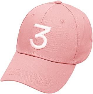 Embroider Chance Baseball Caps Hats Cool Baseball Rapper Number 3 Caps, Rock Hip Hop Classic Casquette with Adjustable Strap, Cotton Sunbonnet Plain Hat (Pink)