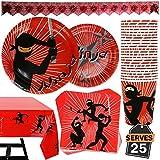 102-teiliges Set mit Ninja Geburtstag Zubehör, bestehend aus Banner, Tellern, Tassen, Servietten...