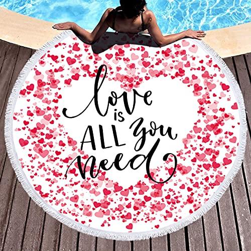 Patrón De Amor De Dibujos Animados Toalla De Playa Redonda Toalla De Baño Absorbente Estera De Playa Antiarena Estera De Picnic De Microfibra De Secado Rápido 150 * 150cm