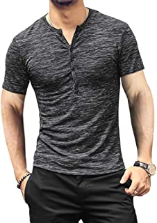 BABEIYXM Men's Soild Henley Short Sleeve Tops Buttons Front Casual T Shirts Tee