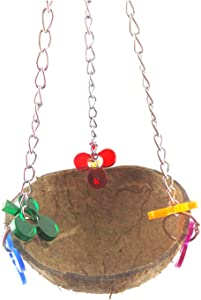 rfrrsss Coconut Shell Hamster Hammock Bird Toys Coconut Shell Chain Hanging Parrot Squirrel Nest Playing Standing for Home Decoration None The acrylic pendant the basket has random shape