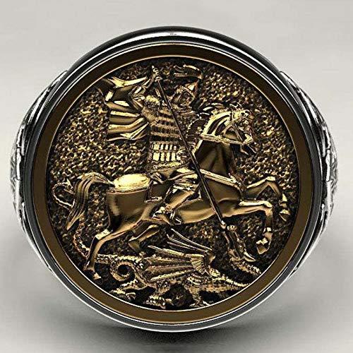 Feeyond Vintage Monarch Ring Men St George Portrait Gold Roman Cavalry Dragon Ring, Women Bohemian Nordic Mythology Viking Jewelry,13
