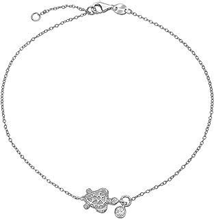 Sunburst Sun Shape Beach CZ Accent Anklet Ankle Bracelet For Women 14K Gold Plated Sterling Silver Adjustable 9-10 Inch