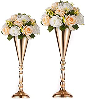 Nuptio 2 PcsTabletop Metal Wedding Flower Trumpet Vase Table Decorative Centerpiece Artificial Flower Arrangements for Anniversary Ceremony Party Birthday Event Aisle Home Decoration