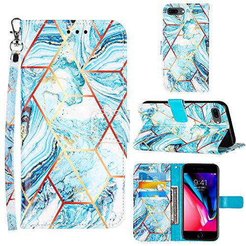 Compatible for iPhone 8 Plus Wallet Case,iPhone 7 Plus Case Women,iPhone 6/6S Plus Case,[Wrist Strap][Credit Cards Slots] 2021 New Marble Pattern PU Leather Stand Flip Cover (Blue, 5.5 inch)