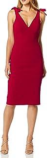 Dress the Population Women's Lita Sleeveless Plunging Midi Sheath Dress W Bows