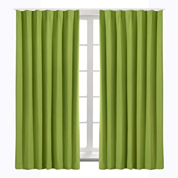 Bedsure カーテン 1級遮光 グリーン ドレープカーテン 緑 幅100cm丈135cm 2枚組 断熱 保温 省エネ おしゃれ 昼夜目隠し 遮光カーテン 高級感のある生地 リビングルーム
